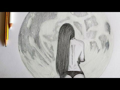 como dibujar la luna y a una mujer Arte Orta  YouTube