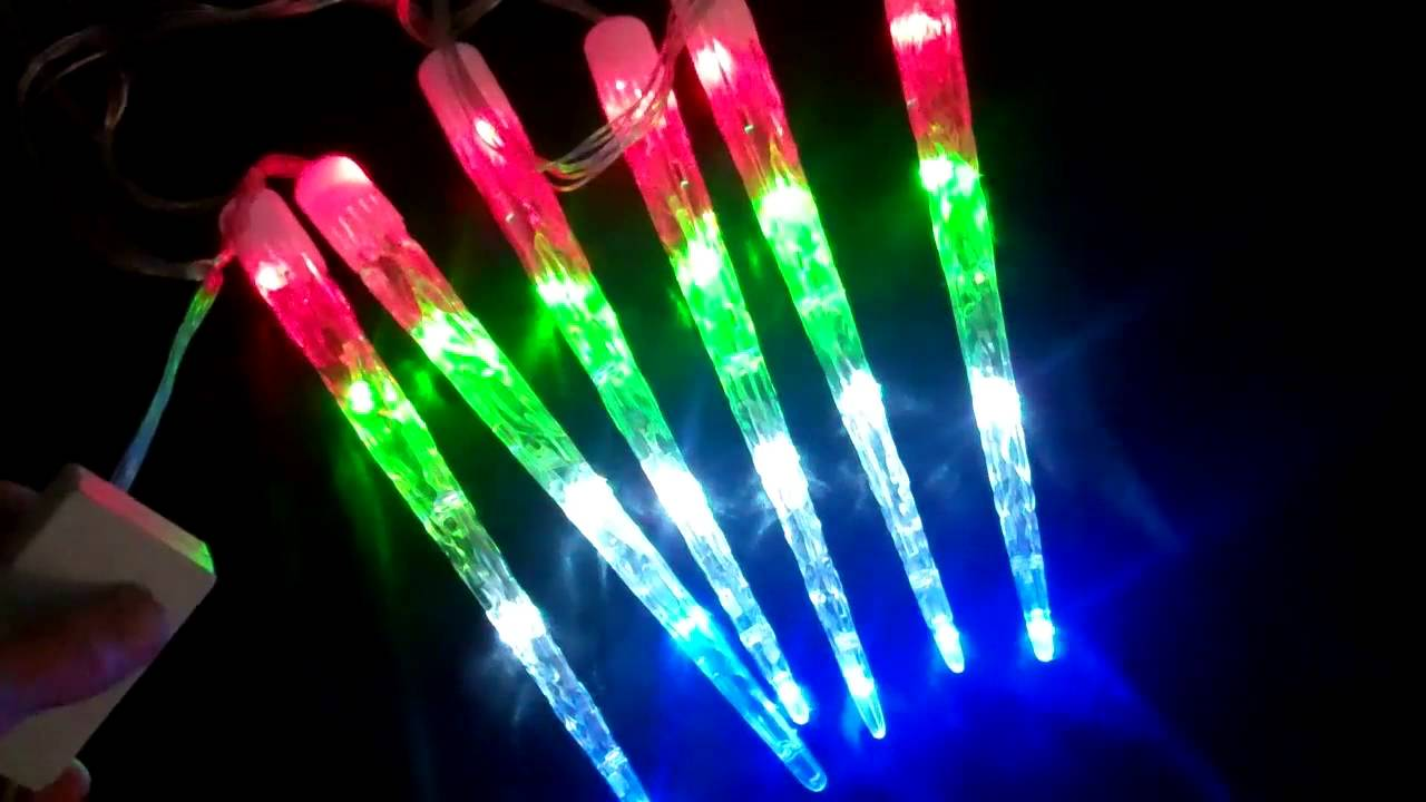 LED Falling Stars Icicle Lights, Color Changing - YouTube