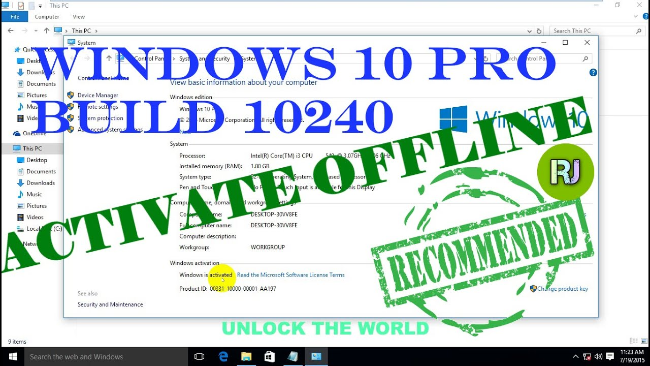 Windows  Pro Build  Activation Offline