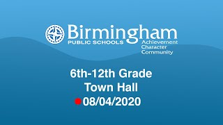 6th-12th Grade Town Hall YouTube Videos