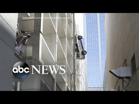 Driver survives after car plunges 7 floors in parking garage
