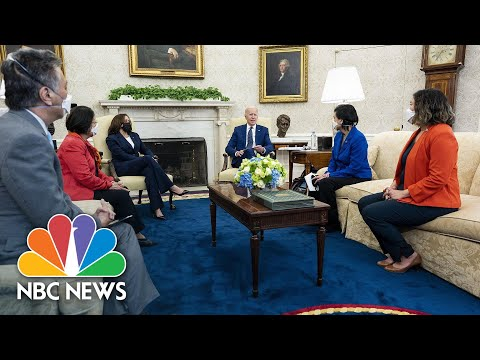Biden Holds Meeting With Congressional Asian Pacific American Caucus Leadership   NBC News NOW
