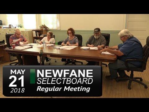 Newfane Selectboard Meeting 5/21/18