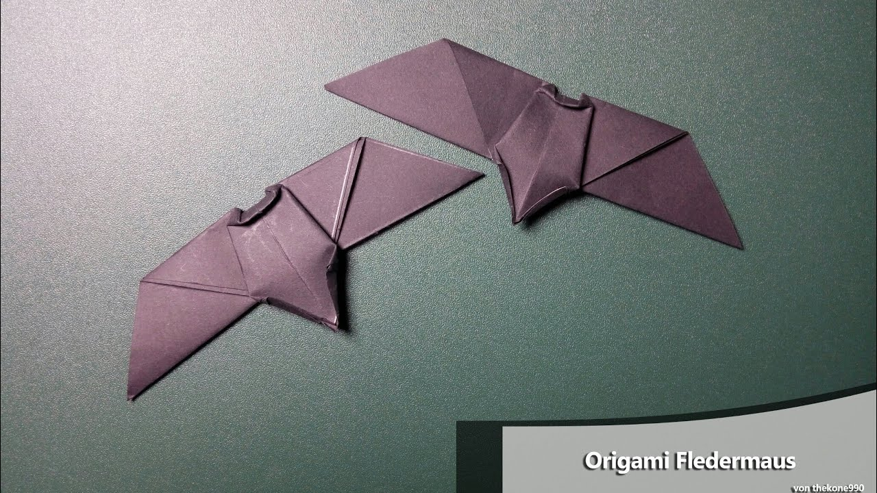 origami falten faltanleitung fledermaus youtube. Black Bedroom Furniture Sets. Home Design Ideas