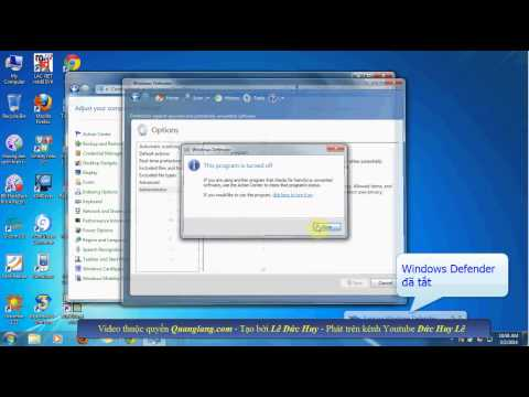 Hướng dẫn tắt, bật Windows Defender trong Win 7