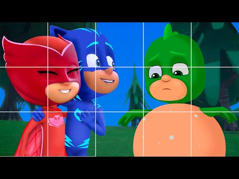 Pj Masks wooden puzzles Owlette, Catboy and Gekko play bowling