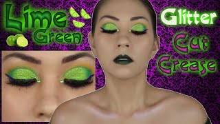 Lime Green & Purple Glitter Cut Crease + Green Lips ll Juvia
