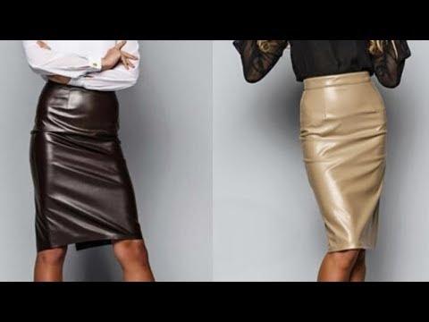 Образы с кожаной юбкой карандаш. С чем носить кожаную юбку карандаш. Красивые фото