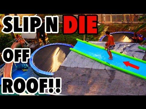 TRAMPOLINE VS SLIP N DIE OFF ROOF!!!