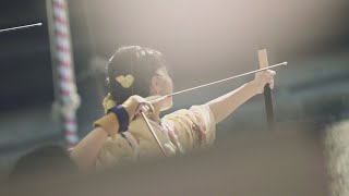 Japanese archery girls gathered in Kyoto. Kyudo Longbow