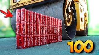 100 COCA COLA DOSEN mit eine WALZE überrollen - EXPERIMENT