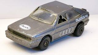 Audi Quattro MB 25  Walter Röhrl Monte Carlo car. Custom Matchbox restoration. Diecast car.