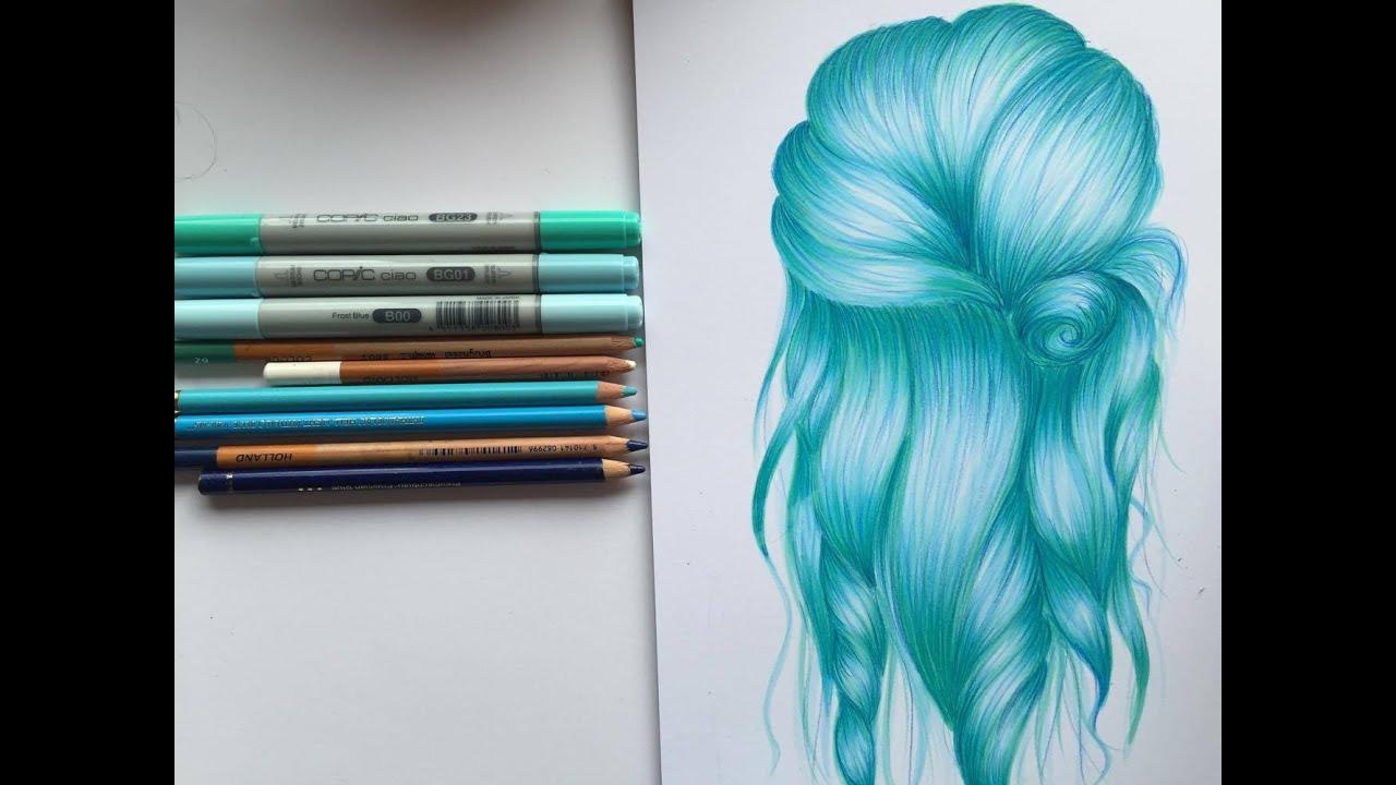 draw hair- blue hair