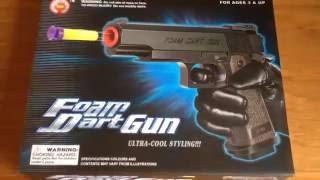 Foam Dart Gun, Police, FBI Pistol, M1911 Toy Gun Un-Boxing and Review