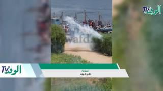 شاهد..فيديو إلقاء قنابل مٌسيلة للدموع في