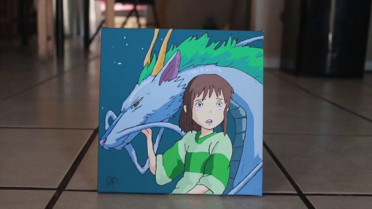 Haku Chihiro Spirited Away Acrylic Painting Youtube