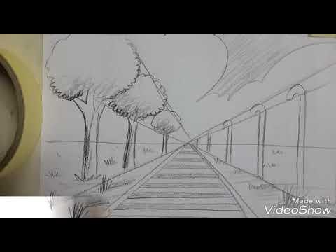 Easy Drawing Perspective From 1 Vanishing Point Menggambar Pemandangan Perspektip Youtube
