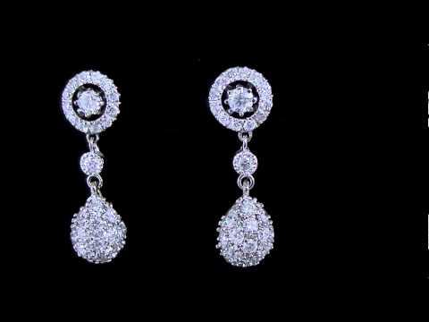 1 1/2 CTW Vintage Diamond Dangle Drop Earrings in 14K White Gold