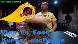 Man Vs Food -  Harleys Bar Fat Boy Burger Challange