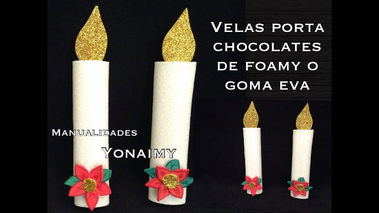 Velas navide as de foamy o goma eva porta chocolates youtube for Velas navidenas