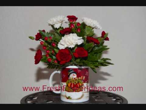 how to make a christmas flower arrangement in holiday mug youtube