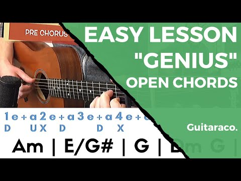 LSD - Genius ft. Sia, Diplo, Labrinth // EASY Guitar Tutorial (Open Chords)
