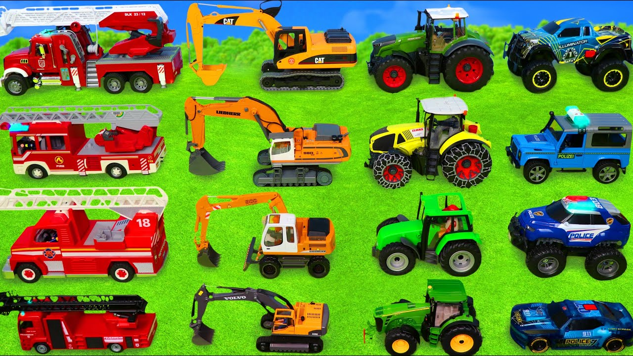 Excavator Dump Trucks Tractor Police Cars u0026 Fire Truck Toy Vehicles for Kids