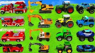 Детский экскаватор, трактор, полицейская машина и пожарная машина