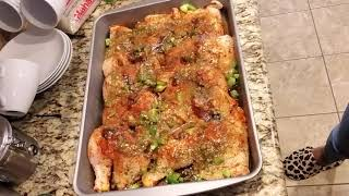 How To Make Juicy Oven Baked Chicken, Rice, Gravy  & Sweet Peas