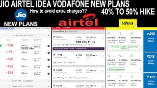 JIO AIRTEL IDEA VODAFONE NEW PLANS - 50% PRICE HIKE