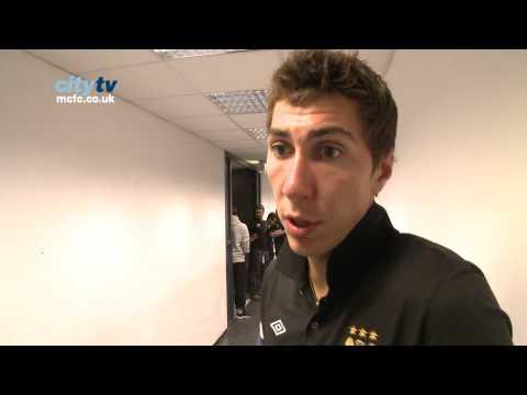City v Dresden: Costel Pantilimon interview with De Jong & Johnson interruptions!