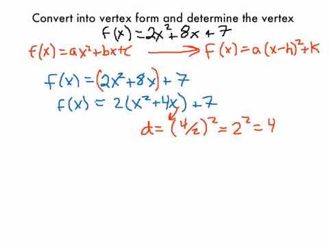 Converting Quadratic Equations To Vertex Form Youtube
