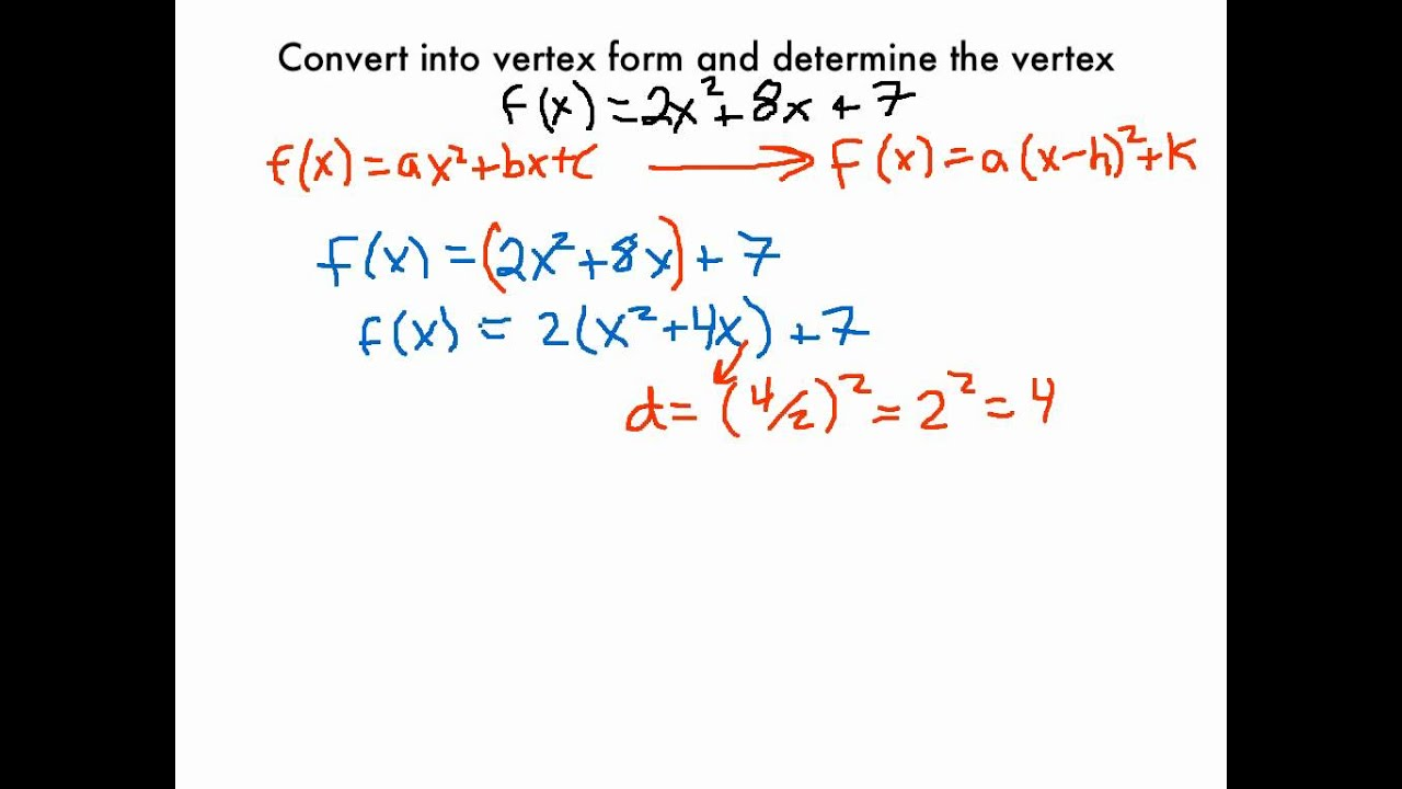 Changing A Quadratic Function Into Vertex Form Youtube