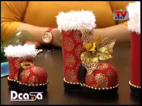 Dcasa manualidades bota navide a hecha con botellas de for Navidad adornos manualidades navidenas