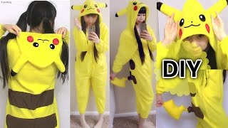 DIY Easy Onesie/ Kigurumi / Costume Pikachu Onesie+ How to Make Pattern from Existing Clothes