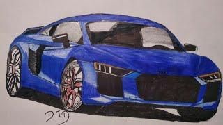 How to Draw Audi R8 Easily