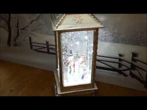 Produktvideo art decor LED Laterne mit Glitzerwirbel - Schnee, Antik-Design, Dekolaterne batteriebetrieben und Adapterfunktion