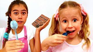 나스티아와 아빠 놀이,초콜릿으로 된 음식 VS 진짜 음식챌린지