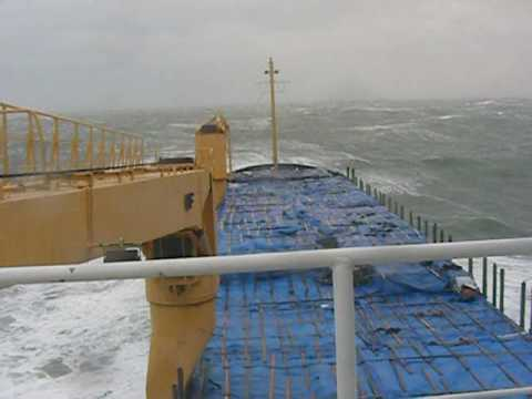 Very rough sea. Gale. Storm. Cargo ship. Monster wave. Life at sea