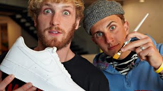 Surprising LOGAN PAUL with Custom NIKE Air Force 1!! 👟🎨