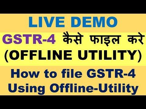GST : HOW TO FILE GSTR 4 USING OFFLINE UTILITY, LIVE DEMO OF GSTR 4 RETURN FILING