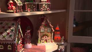 """9"""" Flameless Gingerbread Waffle Cone Tree With Timer By Valerie With Sandra Bennett"""