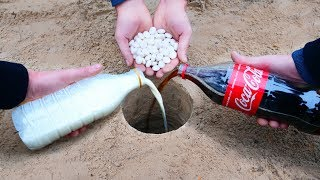 Experiment: Coca-Cola, Milk and Mentos Underground
