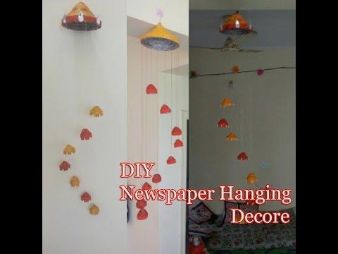 Newspaper Craft Ideas | DIY Wind Chime |  Newspaper wall Decor