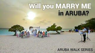 Aruba BEACH WEDDING 🤵👰  walk + Surrounding Eagle Beach areas