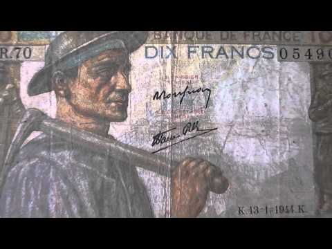 10 DIX Francs   Old money banknote of the Banque de France from 1944