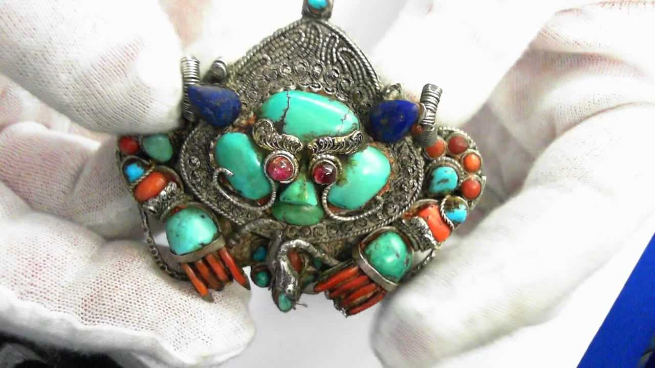 ethnic large handmade tibetan pendant inlay statement nepal turquoise pin