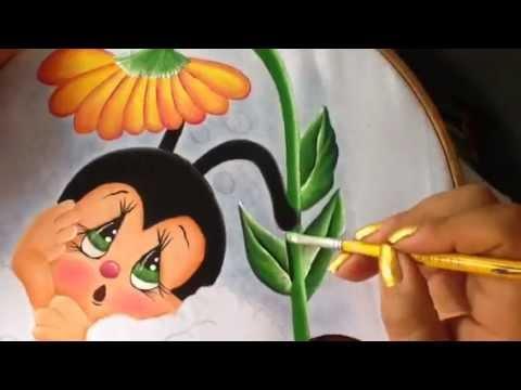 Pintura en tela mariquita  5 con cony  YouTube