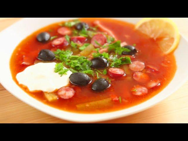 как варить солянку рецепт с колбасой с фото пошагово