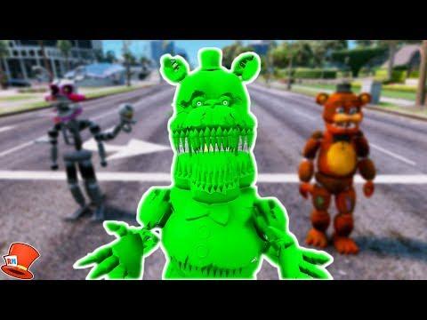 BRAND NEW SLIME NIGHTMARE FREDBEAR ANIMATRONIC! (GTA 5 Mods For Kids FNAF RedHatter)